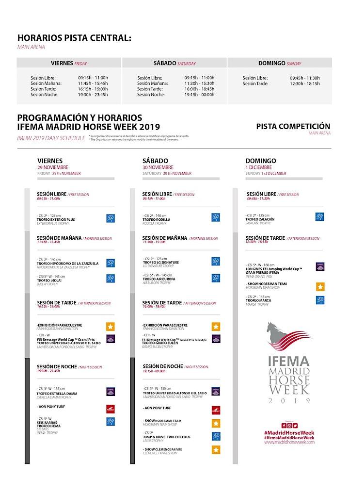 Imagen de IFEMA Madrid Horse Week 2019: LOCALIDADES PALCO DE GRADA VIERNES