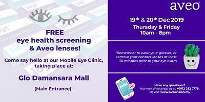Free Eye Health Screening & Aveo Contacts at  Glo Damansara Mall