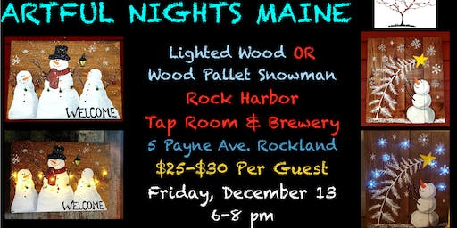 Lighted Wood Pallet OR Wood Snowman at Rock Harbor Tap Room & Brewery