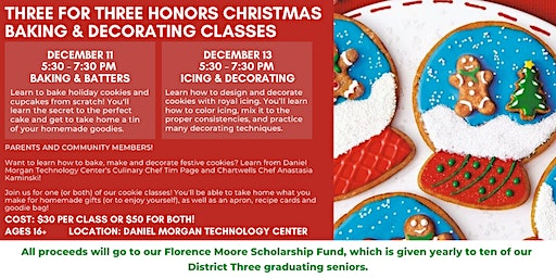 Three for Three Honors Christmas Baking & Decorating Classes