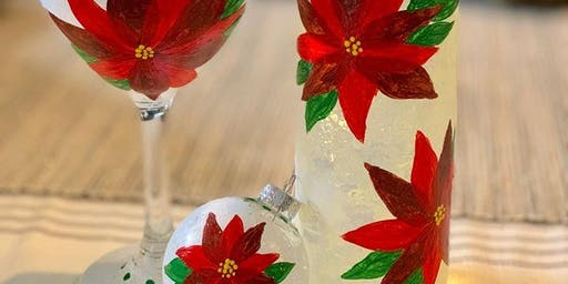 New Class! Join us for our Wine Glass Painting Party Workshop at Halcyon on 12/18 @ 7 PM