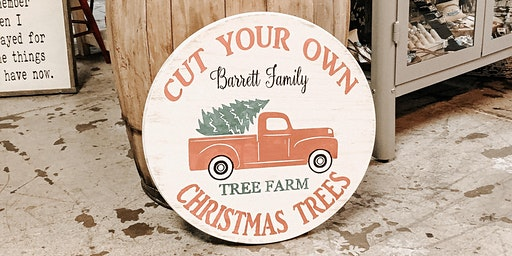 Red truck personalized round sign