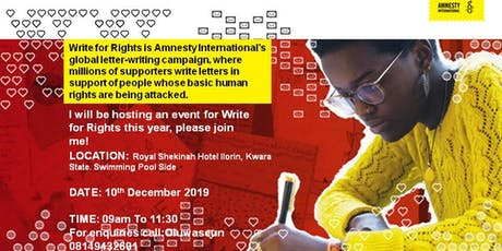 Amnesty International  Write for Rights 2019 tickets