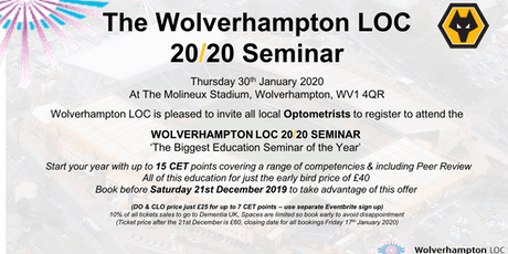 The Wolverhampton LOC 2020 Education Seminar - Optometrist Registration tickets