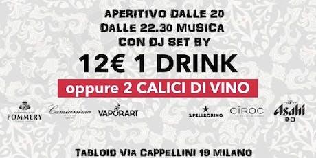 Giovedì Tabloid Aperitivo con Degustazione con 2 calici di vino tickets