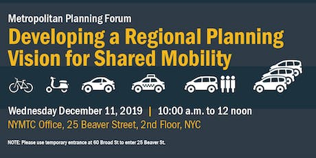 Developing a Regional Planning Vision for Shared Mobility tickets