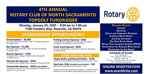 4TH ANNUAL ROTARY CLUB OF NORTH SACRAMENTO FOUNDATION TOPGOLF FUNDRAISER