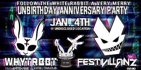 FOLLOW THE WHITE RABBIT TO THE VERY MERRY UNBIRTHDAY ANNIVERSARY PARTY tickets