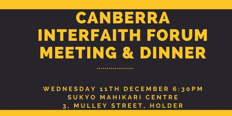 Canberra Interfaith Forum Meeting and Dinner tickets