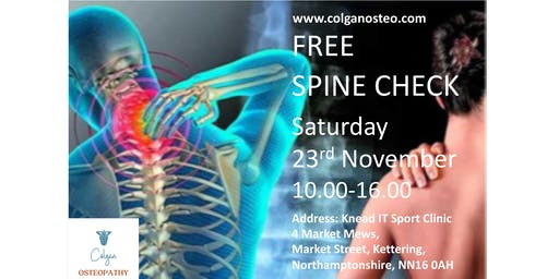 Free Spine Check at Colgan Osteopathy, Kettering
