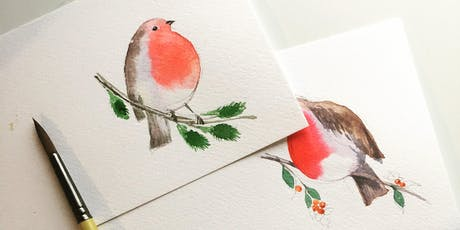 Watercolour Robin Christmas Workshop tickets