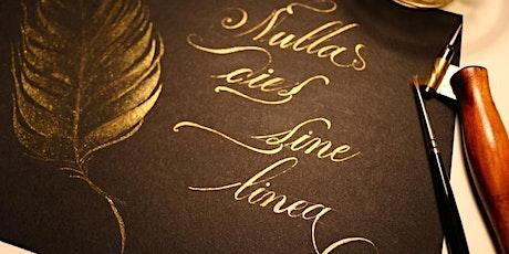 Corsivo inglese decorato: gli ornamenti calligrafici biglietti