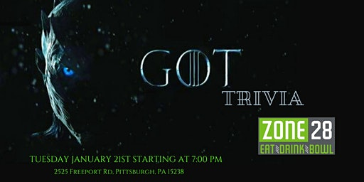 Game of Thrones Trivia at Zone 28