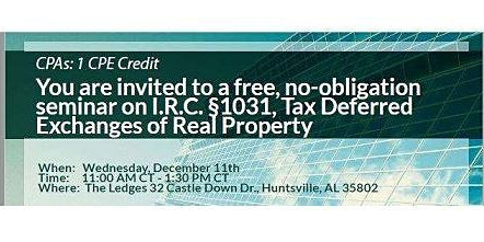 Discussing I.R.C 1031, Tax Deferred Exchange on Real Property