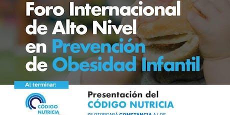 FORO INTERNACIONAL DE ALTO NIVEL EN PREVENCIÓN DE OBESIDAD INFANTIL boletos