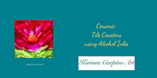 Alcohol Ink Painting Workshop - Ceramic Tile Coasters