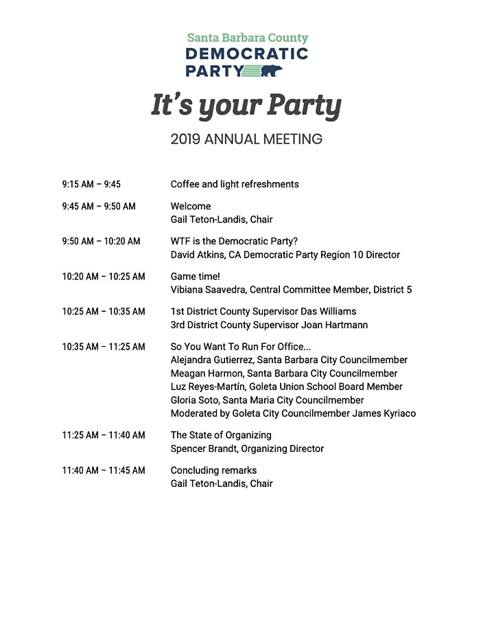 It's Your Party: 2019 Annual Meeting of the SB County Democratic Party image