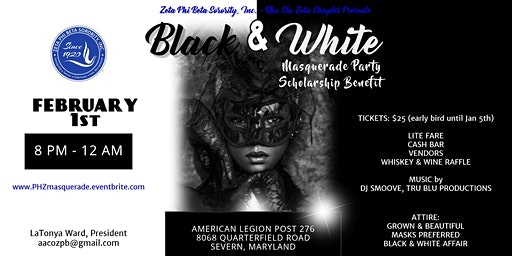 Black & White Masquerade Party and Scholarship Benefit