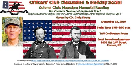 December Officers' Club Discussion and Social tickets