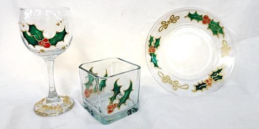 Jenn's Art Jam! Glass Painting Holly Leaves