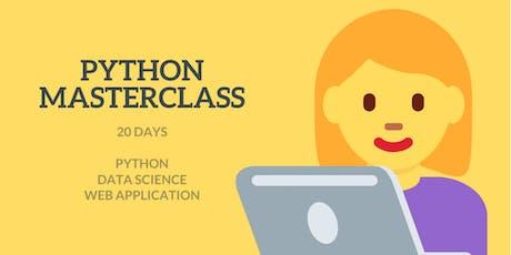 20 Days Python Masterclass + Data Science + Certificate tickets