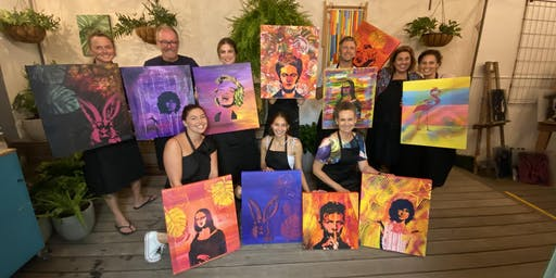 Paint and Sip Class - Iconic Women Pop and Graffiti Art.