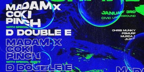 Post NY Shake Ft D Double E / Coki (DMZ) / Pinch (Tectonic) / Madam X (Kaizen)  tickets