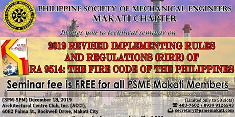2019 RIRR of RA9514 (Fire Code of the Philippines) tickets