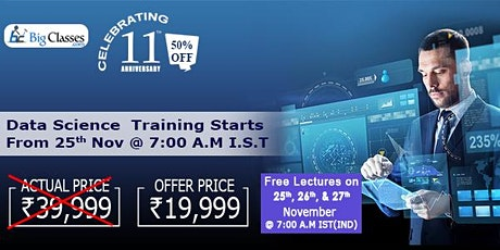 Data Science 3 Free Demo Classes and 50% Discount on Training tickets