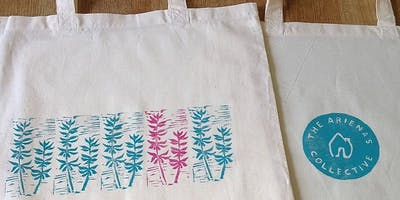 Lino-printing onto fabric workshop
