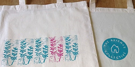 Lino-printing onto fabric workshop tickets