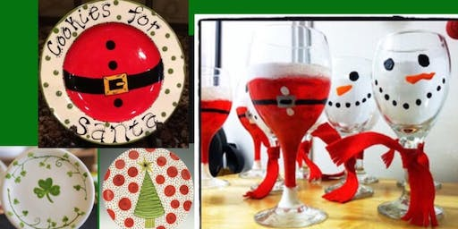 Christmas Plates and Wine Glass Paint and Sip