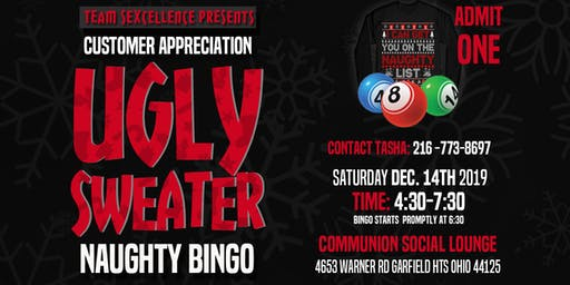 TEAM SEXCELLENCE UGLY SWEATER NAUGHTY BINGO