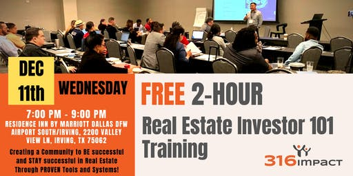December 11th: FREE 2-Hour Real Estate Investor 101 Training in Irving