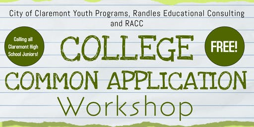 City of Claremont Youth Programs Common Application Workshop