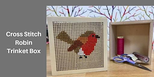 Cross Stitch Robin Trinket Box