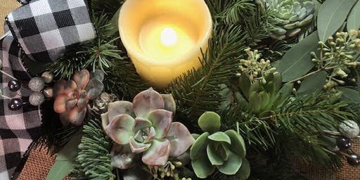 Ten Pin Holiday Succulent Candle Wreath Workshop
