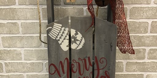 Rustic Christmas Sled Paint Class