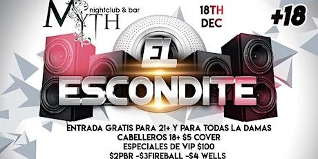 Latin Ladies Night (El Escondite Part 2) At Myth Nightclub, Wednesday 12.18.19 tickets