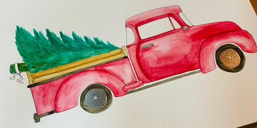 Festive Holiday Truck - Watercolor Workshop with Katie Holt