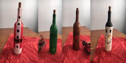 Paint a Holiday Wine Bottle with Lights