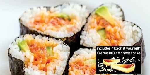 Valentine's Cooking Class - Sushi Cooking Class w. DESSERT/SAKE + Sushi Mat
