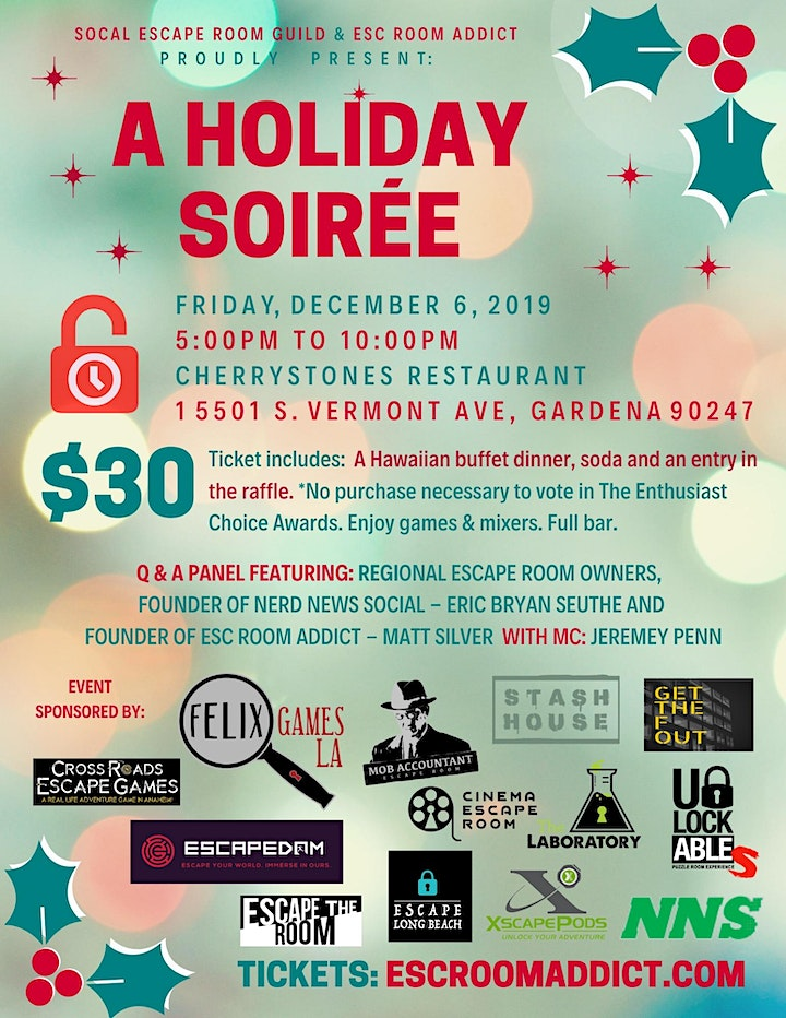 ERA and Socal Escape Room Guild invite you to a Holiday Soirée image