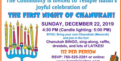 First Night of Chanukah Community Celebration at Temple Isaiah