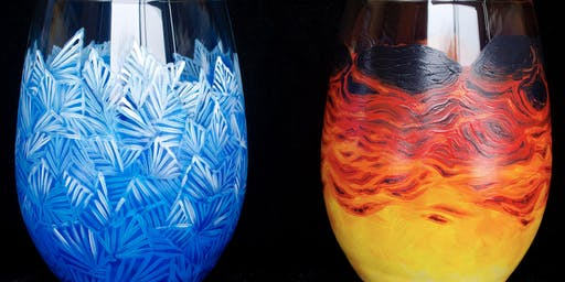 "Adult Open Paint (18yrs+)  ""Fire & Ice"" Glasses"