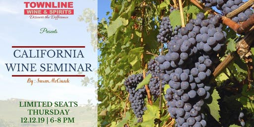 95+ Rated California Wine Tasting & Seminar By Susan McQuade