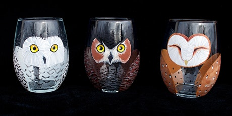 """Adult Open Paint (18yrs+) """"Little Owl Companion Wine Glasses"""" tickets"""