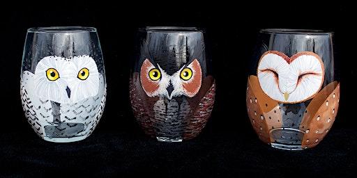 "Adult Open Paint (18yrs+) ""Little Owl Companion Wine Glasses"""