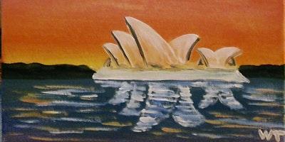 Paint and Sip 2 for 1 offer includes bubbly Sydney Harbour painting