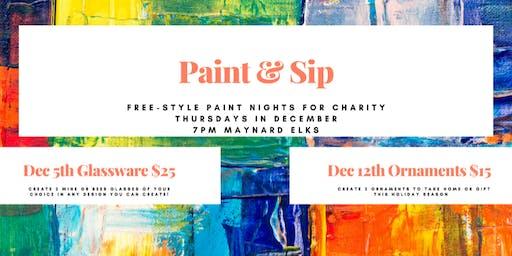 Paint & Sip Ornaments 12/12 Maynard Elks $15